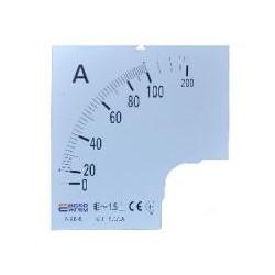 Шкала 100/5А к амперметру трансформаторного включения A-72-6 (72×72 мм)