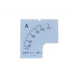 Шкала 1000/5А к амперметру трансформаторного включения A-72-6 (72×72 мм)