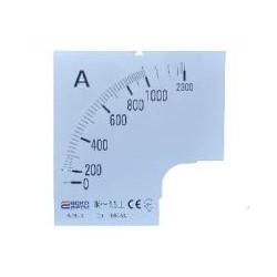 Шкала 1000/5А к амперметру трансформаторного включения A-96-6 (96×96 мм)